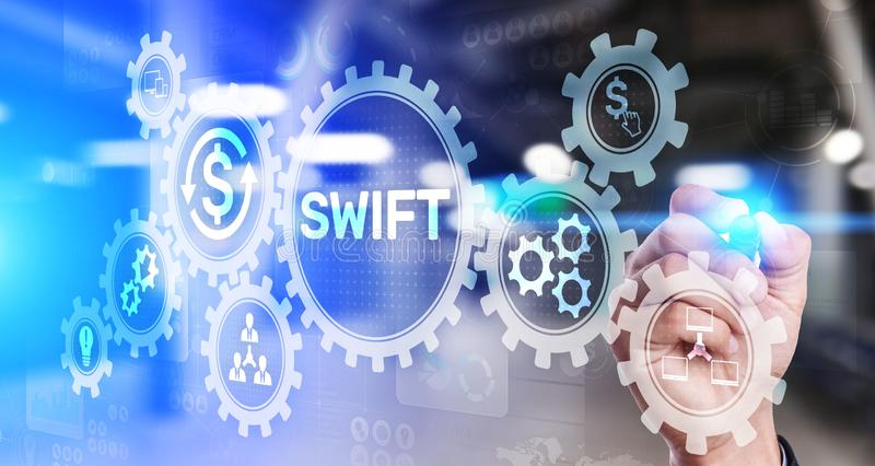 SWIFT international payment system financial technology banking and money transfer concept on virtual screen. SWIFT international payment system financial royalty free illustration