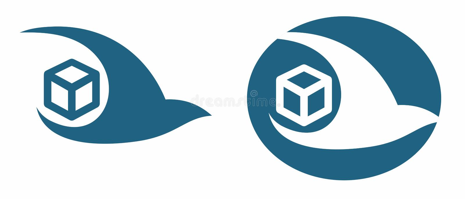 Swift package delivery courier service or express transport company logo brand in blue and white stock illustration