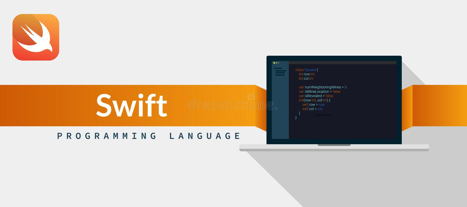Swift programming language for iOS, Mac OS from apple with script code on laptop screen, programming language code illustration.  stock illustration