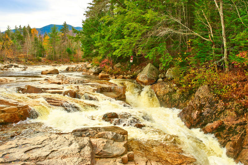 Swift River at autumn. In White Mountain National Forest, New Hampshire, USA stock photos
