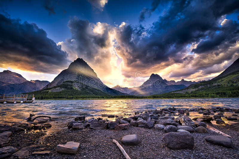 Swiftcurrent Lake at Sunset royalty free stock photography