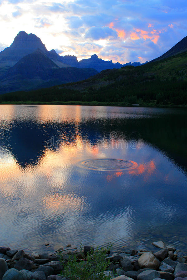 Swiftcurrent Sunset Rippled royalty free stock photo