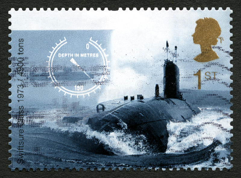Swiftsure Class Submarine UK Postage Stamp. GREAT BRITAIN - CIRCA 2010: A used postage stamp from the UK, depicting an image of a Swiftsure-class nuclear powered stock photos