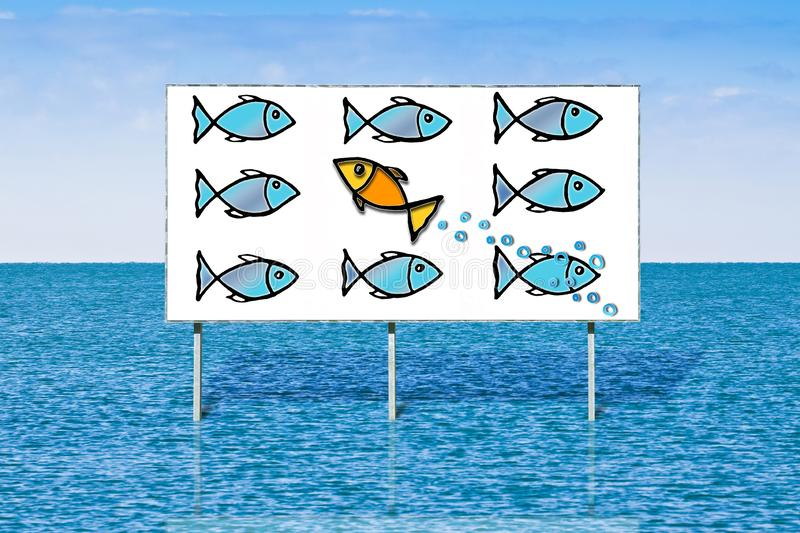Swim against the tide or standing out from the crowd - concept image over a advertising billboard against a seascape royalty free stock image