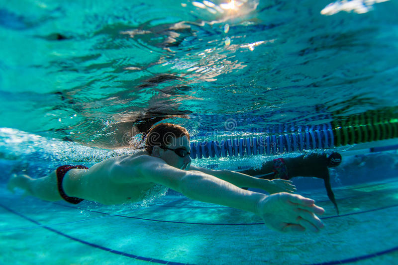 Swimmer Underwater Breaststroke royalty free stock photos