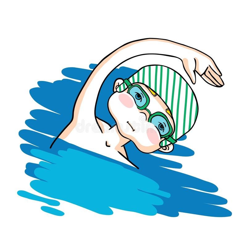 Swim the crawl boy color vector drawing. Healthy lifestyle background