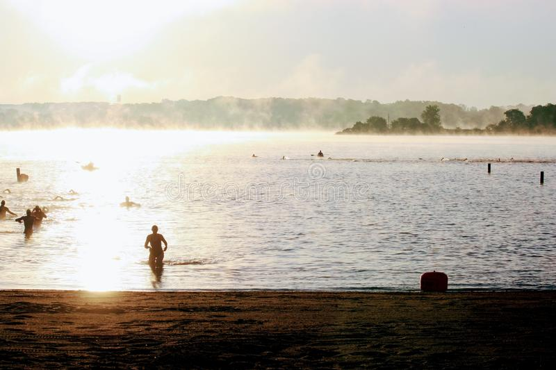 Swim exit at triathlon over a lake stock images