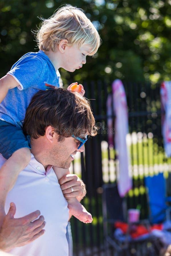 Swim meet. Denver, Colorado, USA-July 11, 2015. Kids swim meet in outdoor pool during the summer stock photo