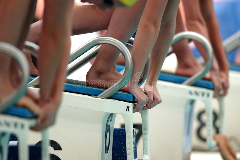 Swim Start 009. Toes and hands touch the blocks at the start of a swim race stock photos