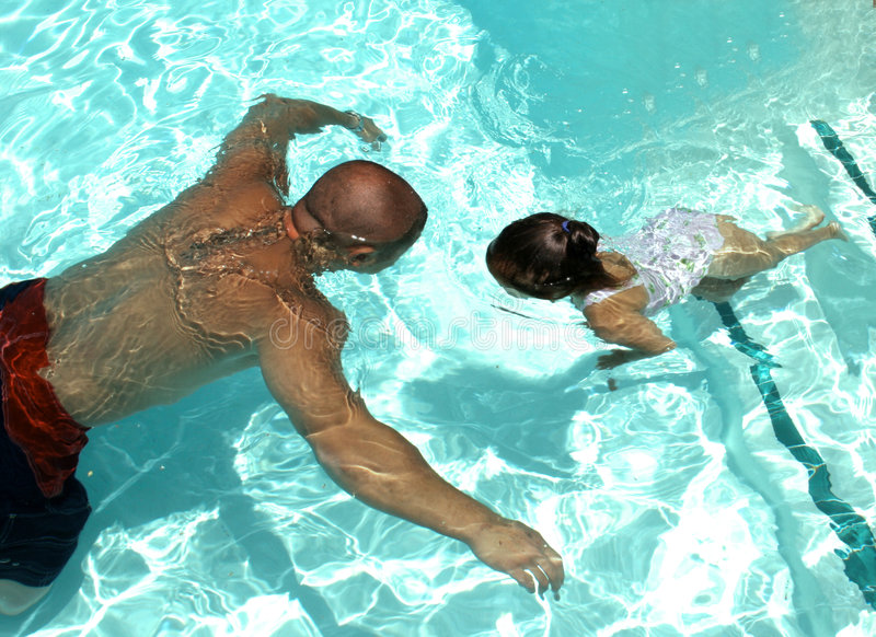 Download Swim to Daddy stock photo. Image of families, time, water - 957576