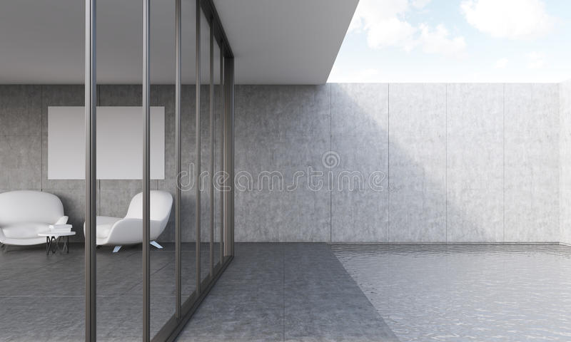 Swiming pool and living room with sofas. Big swiming pool and living room with two white sofas and table. Concept of appartment. Big window. 3D rendering. Mock royalty free illustration