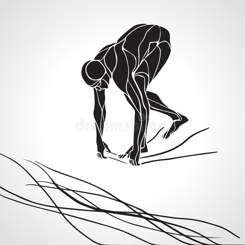 Free Swimmer At Starting Block Silhouette Royalty Free Stock Image - 64516816