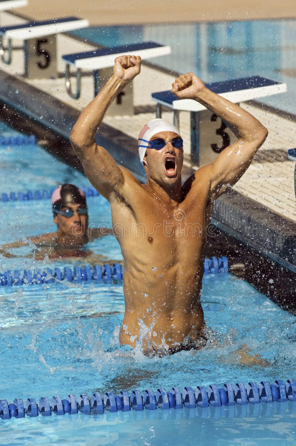 swimmer celebrating victory in pool stock image image 30841979