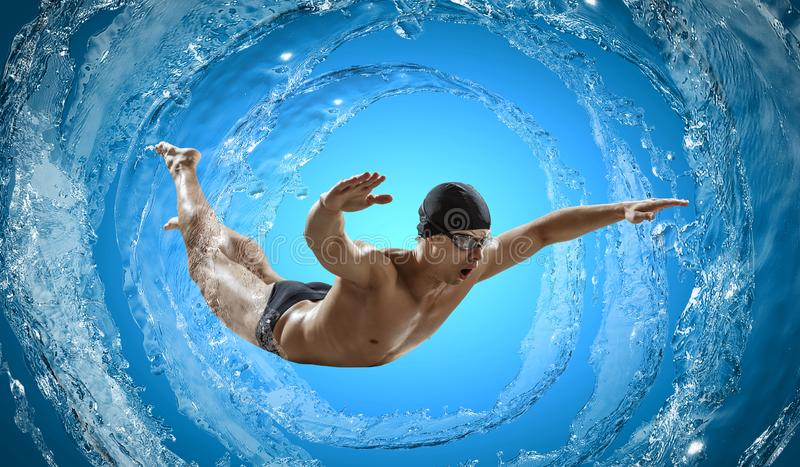 Swimmer at competition. Mixed media royalty free stock photos