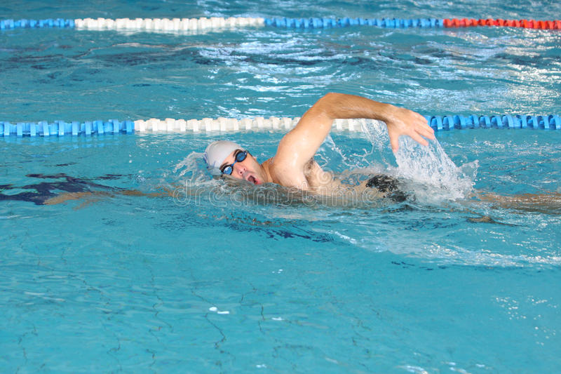 Swimmer in comptition royalty free stock photography