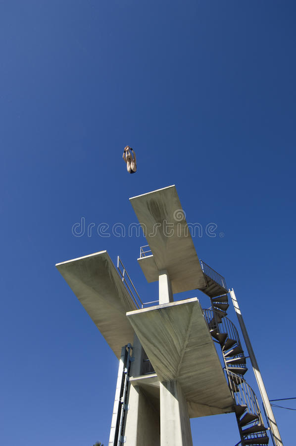 Swimmer Diving From Springboard stock images