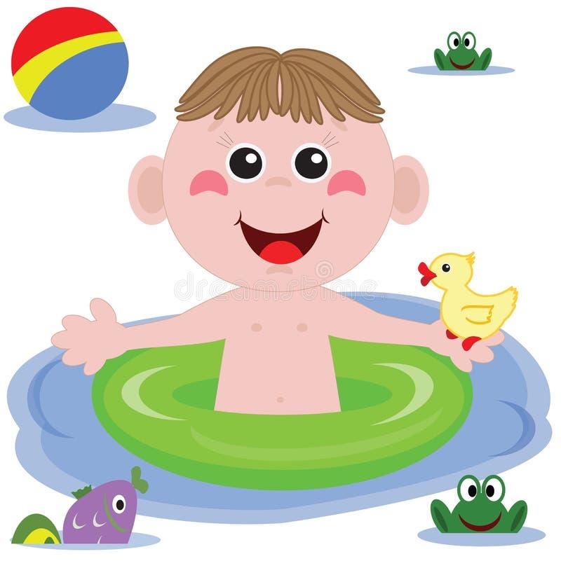 Swimmer Funny Boy Stock Photo