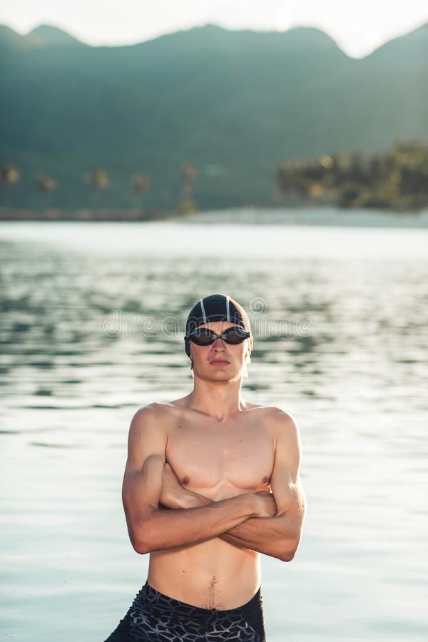 Swimmer model in a sea stock image