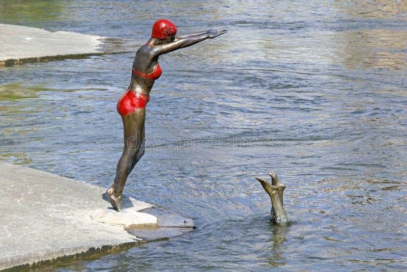 Swimmer statue Skopje stock images