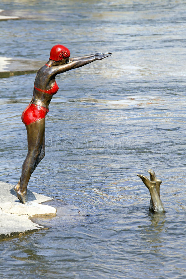 Swimmer statue stock photography