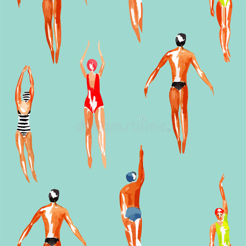 Swimmer watercolor seamless background stock illustration