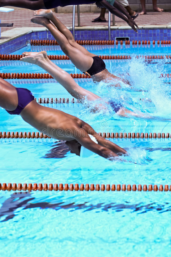 Swimmers. Jumping in the olympic pool stock images