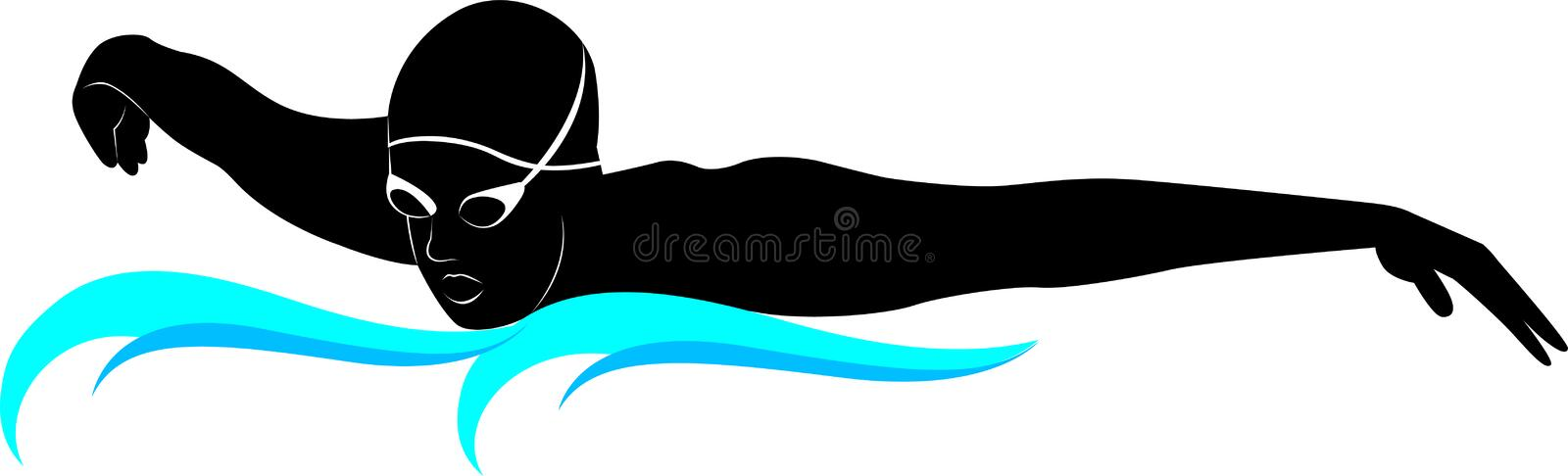 Swimmers athletes. A plain drawing of a boy swimming on a white background