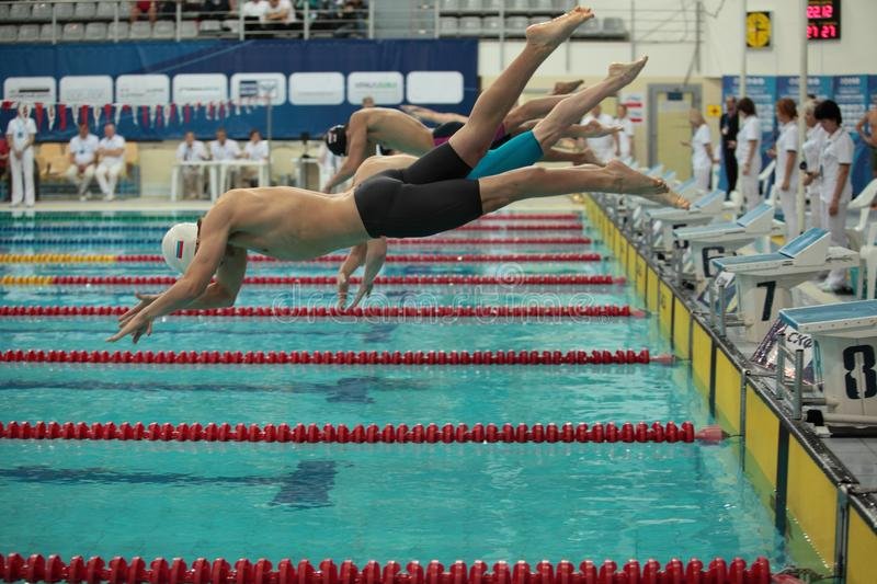 Swimmers dive into pool at the start of the swim. St. Petersburg, Russia, December 22-23, 2017 XI International swimming competition `Vladimir Salnikov Cup` stock photo
