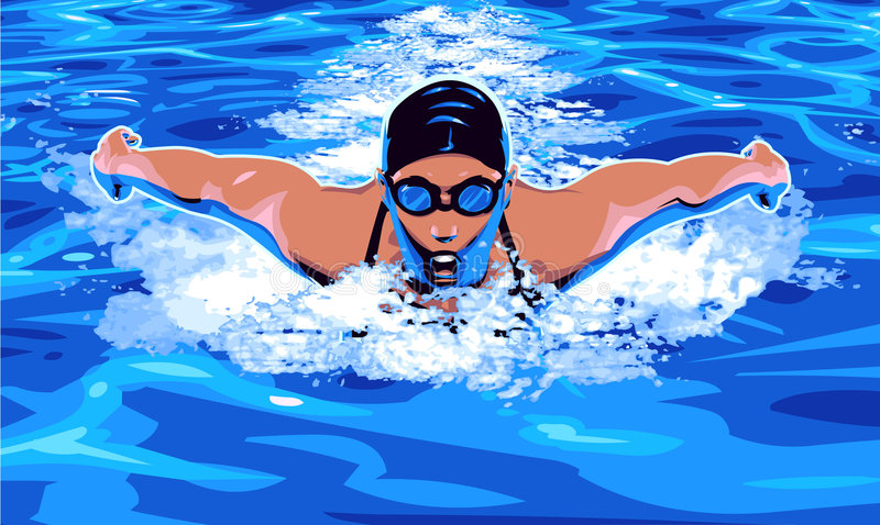 Swimming royalty free illustration