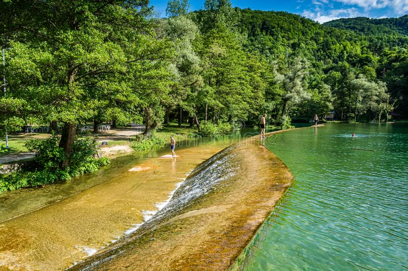 Swimming area on Plivsko Lake - it is a part artificial, part natural lake in Bosnia and Herzegovina. Located in the municipality of Jajce royalty free stock photo