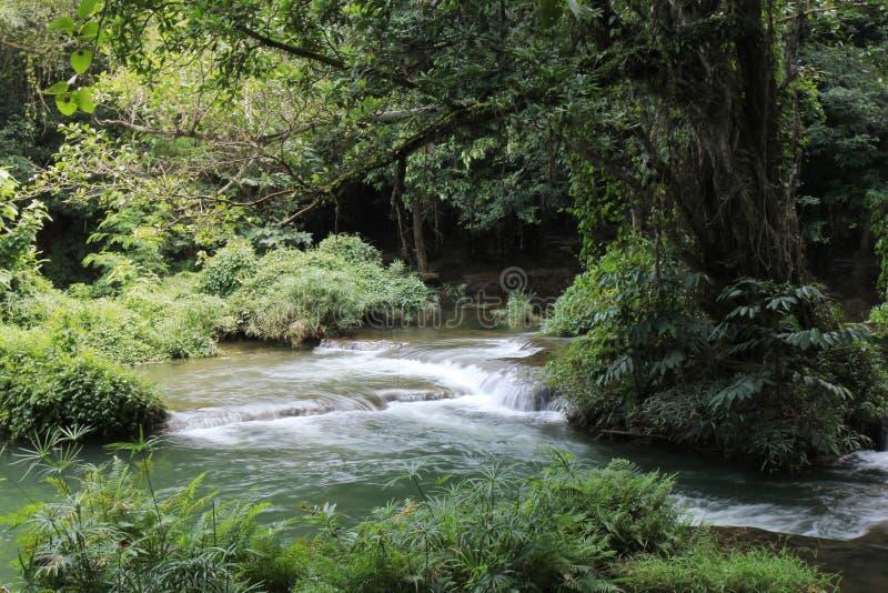 Swimming area of small waterfall as Namtok Chet Sao Noi in National Park. Thailand stock photo
