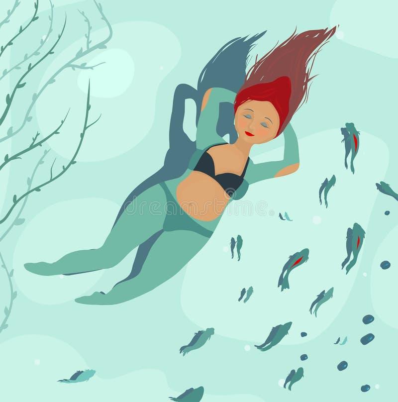 Swimming  Beautiful Woman In Sea And Fish Stock Photography