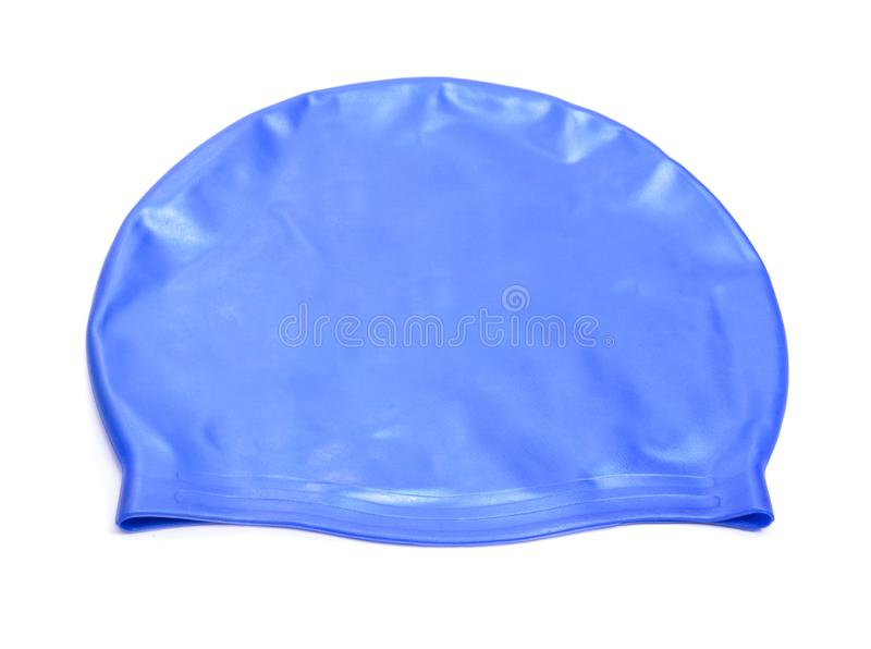 A swimming cap, swim cap or bathing cap isolated on white stock photography