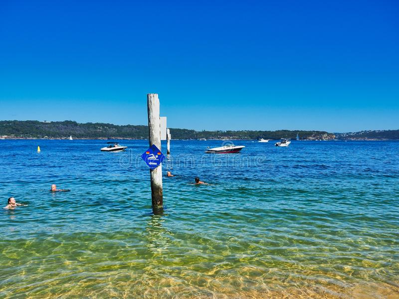 Swimming in Sydney Harbour, Camp Cove, Australia. Swimming in clear blue sea water at Camp Cove, Watsons Bay, Sydney Harbour, NSW, Australia, with recreational stock photo