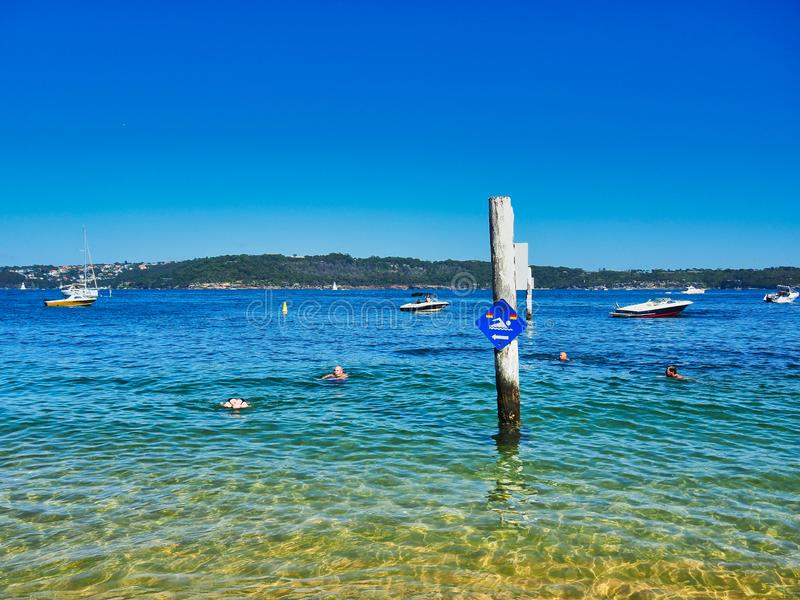 Swimming in Sydney Harbour, Camp Cove, Australia. Swimming in clear blue sea water at Camp Cove, Watsons Bay, Sydney Harbour, NSW, Australia, with recreational royalty free stock photos