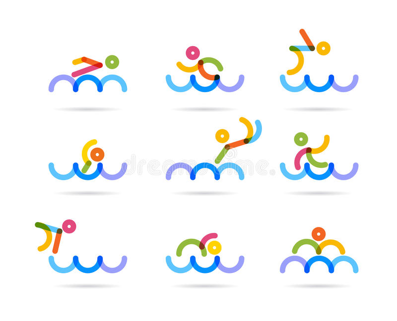 Swimming colorfu icons. For buisness logo and designs vector illustration