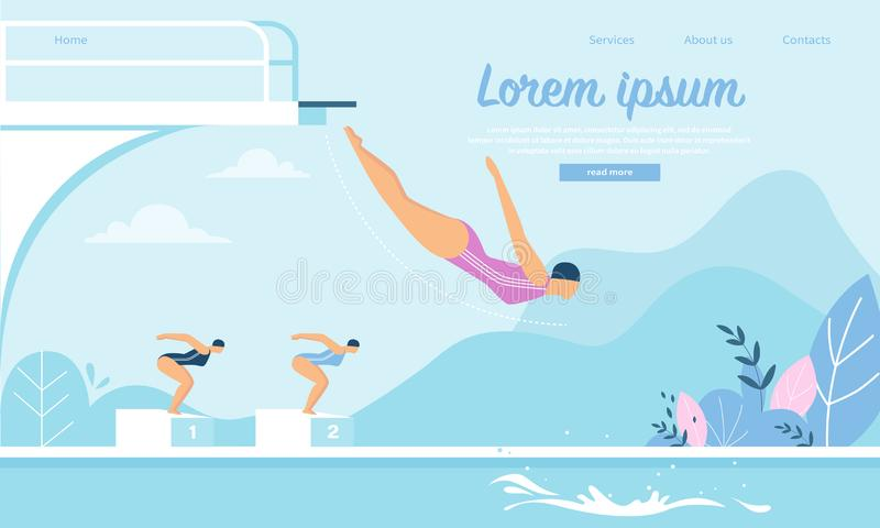 Swimming Competition, Sportswomen Jumping in Water stock illustration