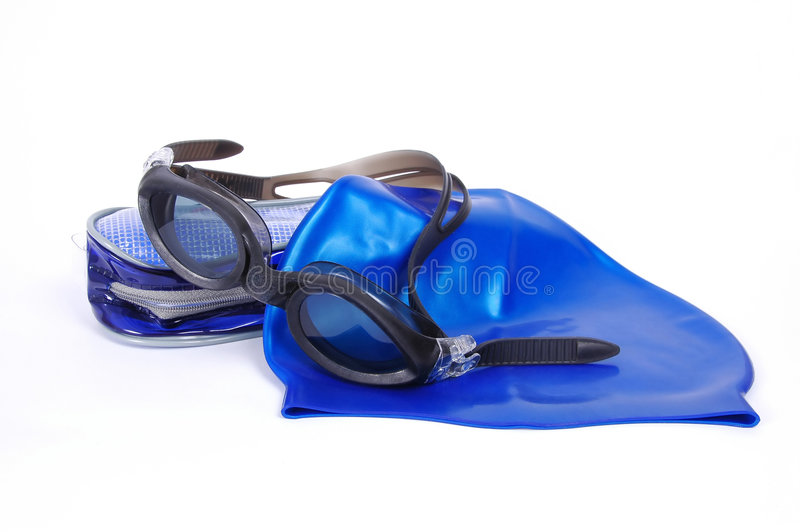 Swimming equipment. Swimming cap and glasses with etui royalty free stock image