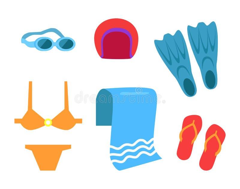 Swimming Equipment Vector Icon Cartoon Style. stock illustration