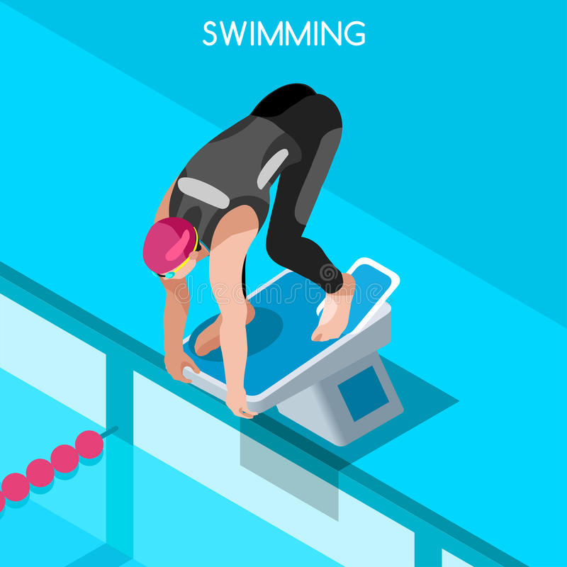 Swimming Freestyle Summer Games Icon Set. 3D Isometric Swimmer. Breaststroke Backstroke Butterfly Relay Sporting Competition Race stock illustration