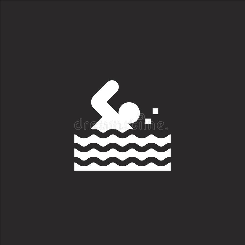 Swimming icon. Filled swimming icon for website design and mobile, app development. swimming icon from filled water park. Collection isolated on black royalty free illustration