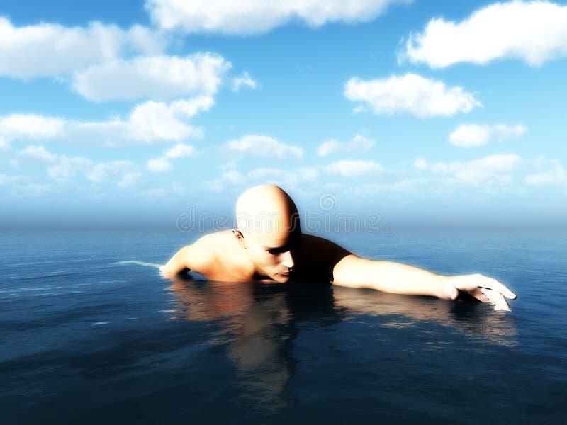 Download Swimming Man stock illustration. Image of horizon, seascape - 13648448