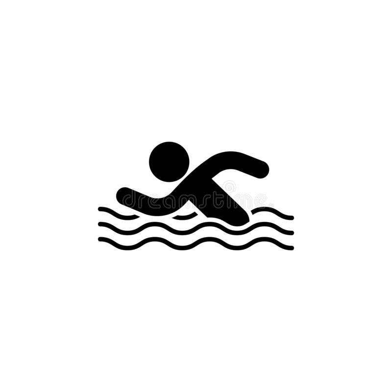 Swimming man in the water icon. Simple glyph vector of universal set icons for UI and UX, website or mobile application. On white background stock illustration
