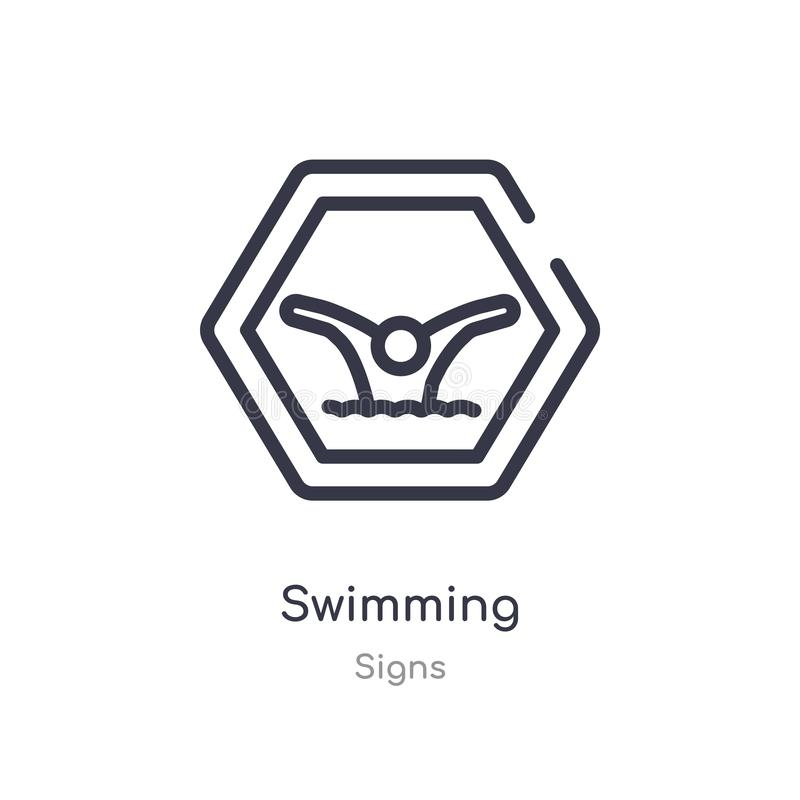 Swimming outline icon. isolated line vector illustration from signs collection. editable thin stroke swimming icon on white. Background stock illustration