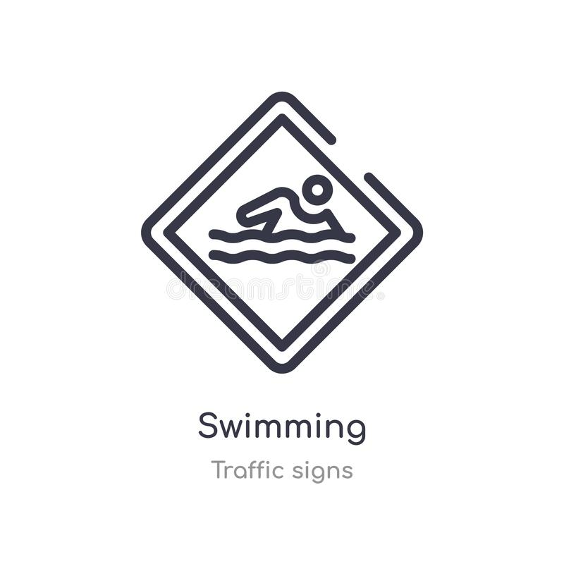 Swimming outline icon. isolated line vector illustration from traffic signs collection. editable thin stroke swimming icon on. White background stock illustration