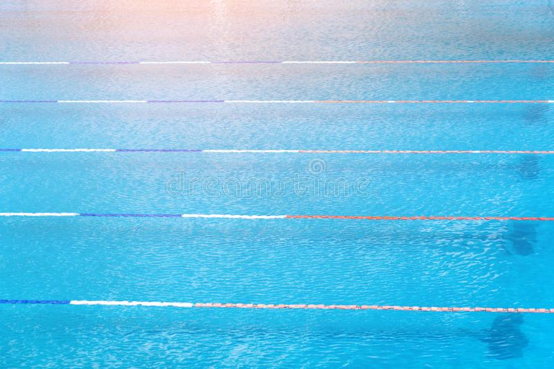 Swimming paths in the sports pool with water.  royalty free stock images