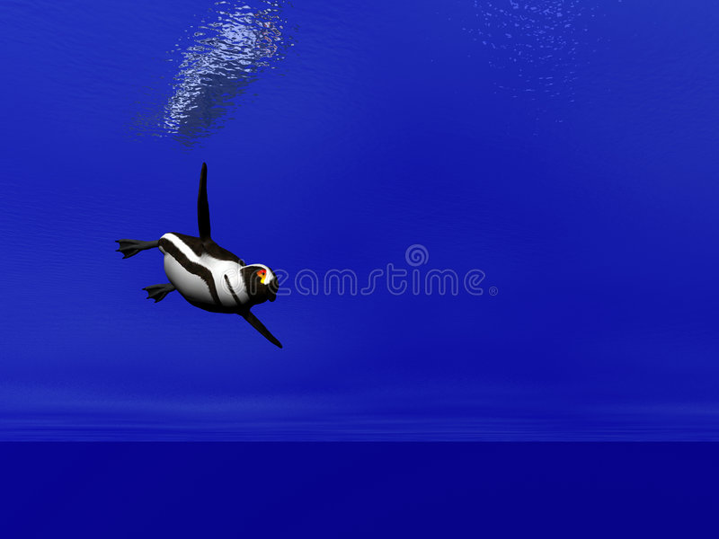 Swimming Penguin vector illustration