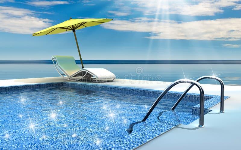 Swimming pool. Luxury home swimming pool near the sea