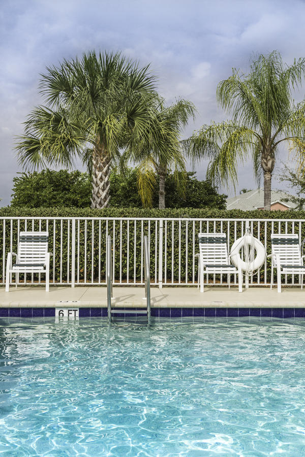 Swimming pool against palms in royalty free stock images