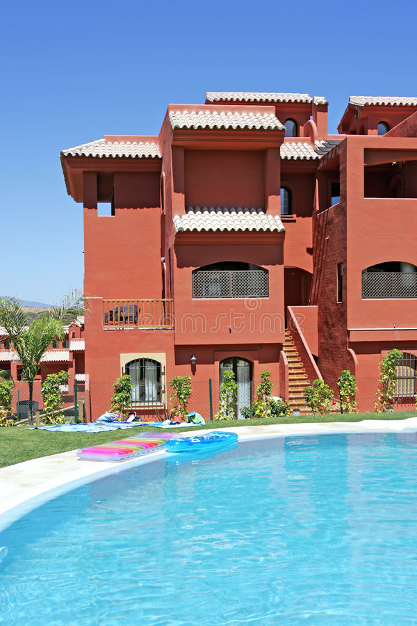 Download Swimming Pool And Apartment Block On Spanish Vacation Urbanisation Stock Photo - Image of orange, home: 225122